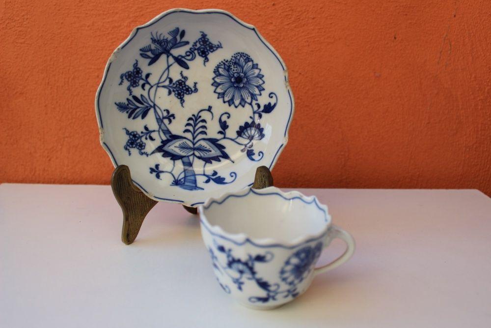 Set cafea, portelan fin MEISSEN - model Blue Onion, cca. 1910