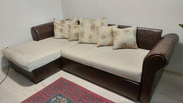 Разтегателен ъглов холов диван