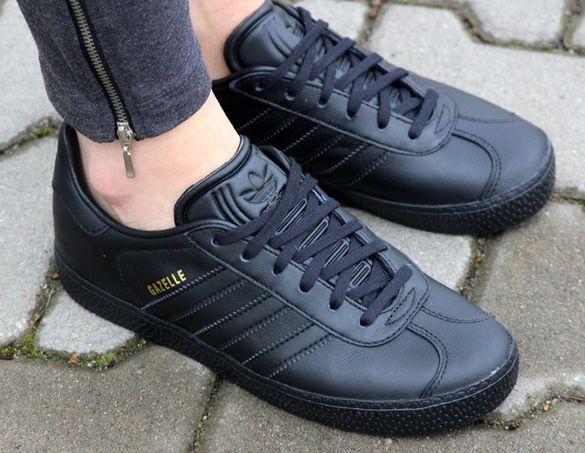 НОВО *** Оригинални Adidas Originals GAZELLE J Black Leather Унисекс