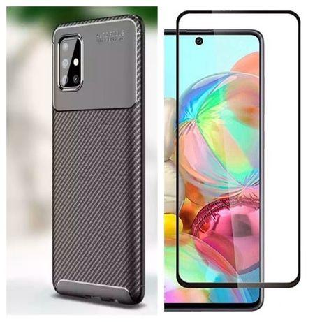Husa Silicon Carbon + Folie Sticla 11D Samsung A50 A51 A70 A71 A41 A42