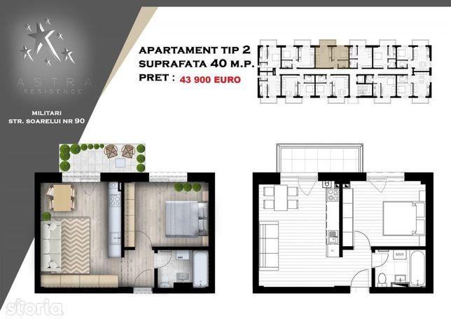 Apartament 2 camere 40mp  43900€, Militari Residence