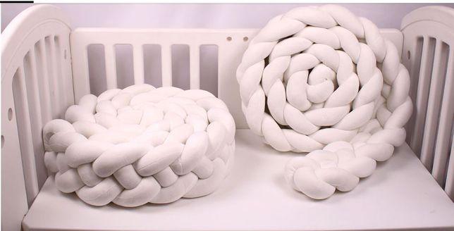 Protectie laterala, pat copii, bumper impletit, pufos, 300 cm