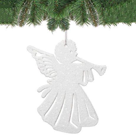 Set Figurine decorative Ingeras pentru Brad de Craciun, culoare alb, 6