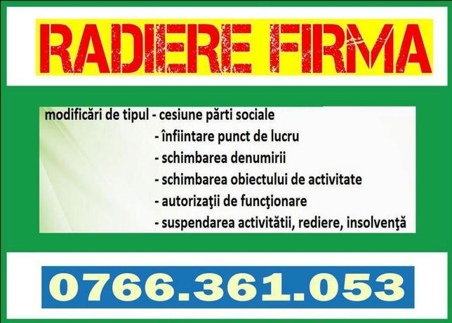 Radiere / Inchidere Firma (SRL, PFA, II) Craiova - Dolj