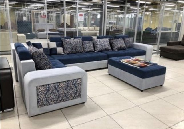 Большой угловой диван «Жасмин» с пуфиком на пружине