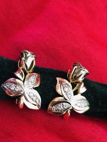 Сырға 583, көзі бриллиант, қызыл алтын