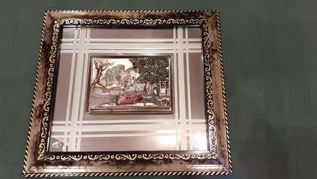 Tablou din argint 925 cu oglinda, cu model in relief 3D - DEOSEBIT