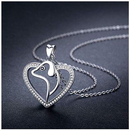 Set colier pandantiv, catel, inima, cadou, Argint 925