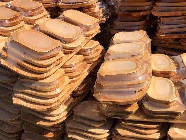 Set Platou Rustic 13 piese din lemn 1 platou , 6 farfurii mari si 6 mi