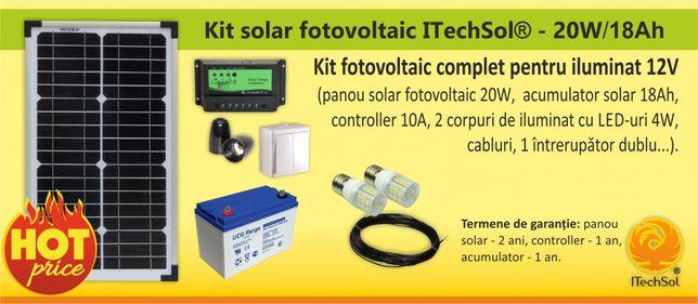 Kit (sistem) solar fotovoltaic ITechSol® 20W pentru iluminat 12V