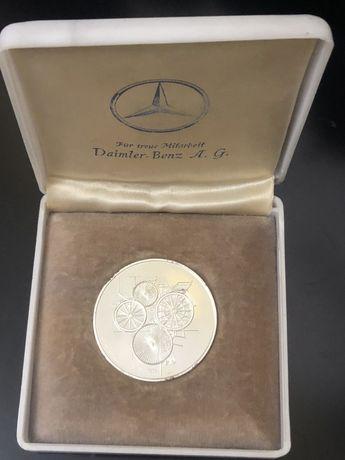 Medalie argint 100 ani Daimler Benz (moneda, placheta)