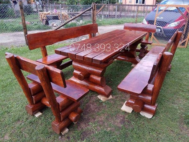 Set masa cu băncuțe scaune lemn foișor  balansoar  leagan