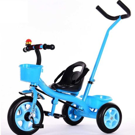 Tricicleta pentru copii, reglabila, cu cos si cadru fier, cu maner