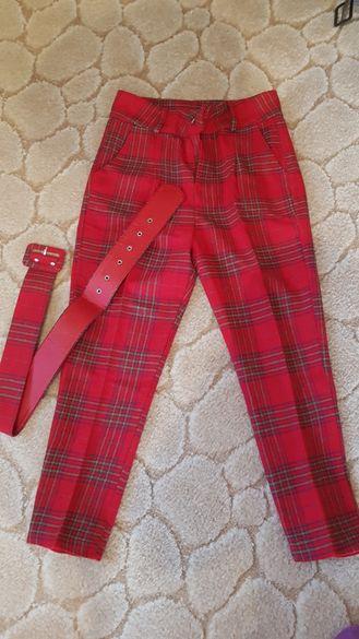 Нов кариран панталон в червено