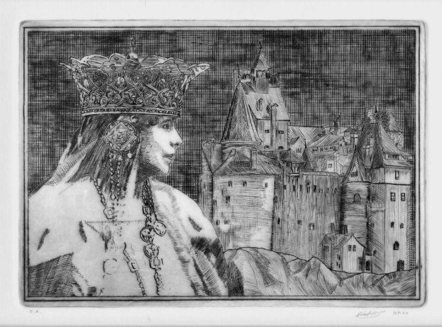 Aquaforte gravura 35x25 Regina Maria