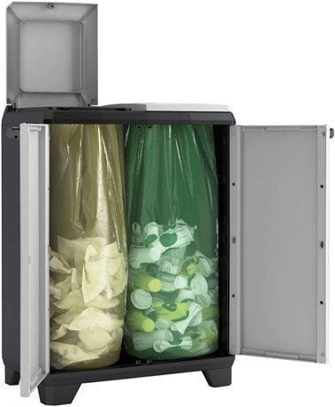 Шкаф за рециклиране Keter Split Premium, черен / сив, 68 х 39 х 92 см,