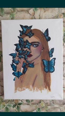 Tablou pictat cu acrylice si tempera