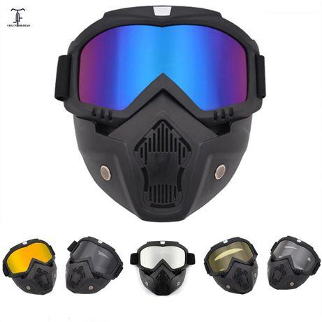 Masca full face cu ochelari detasabili ski snowboard motocicleta atv