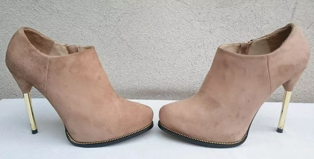 Ghete dama cu toc, botine piele intoarsa, marimea 39, Zara Woman