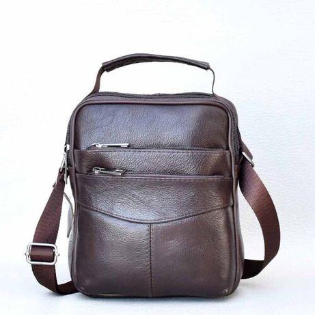Brown Black Мъжка чанта от телешка кожа на топ цена кафява и черна