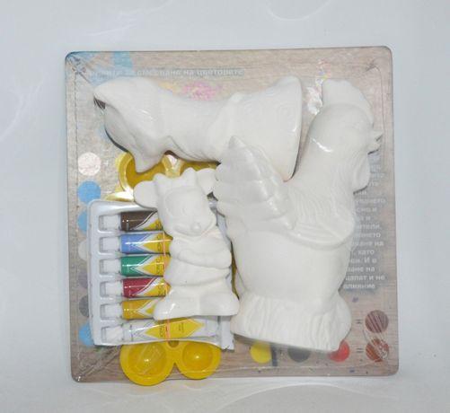 Комплект керамични фигурки за оцветяване