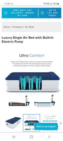 Saltea cu aer, Luxury Single Air Bed with Built-In Electric Pump