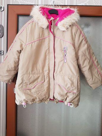 Дебело зимно яке за момиченце на 5-6 год.,плюс подарък мече