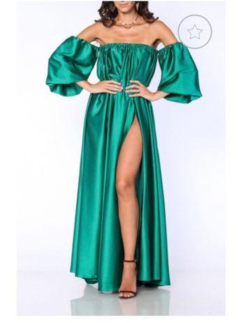 rochie TGH Fashion satin verde