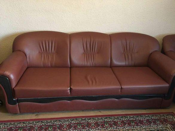 Кожена холна гарнитура,с два фотьойла и две табуретки