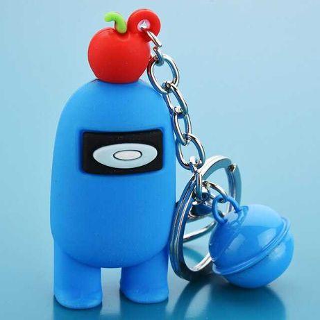 Breloc/Figurina Among Us Albastru cu Cireasa si clopotel atasat