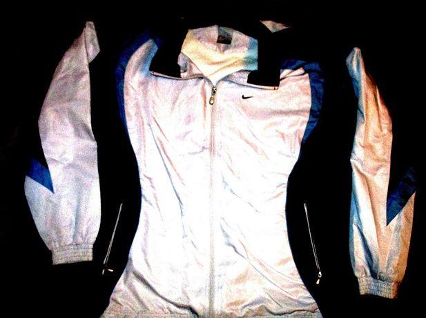 Bluza trening Nike alb cu bleumarin, material fas, 2 buzunare fermoare