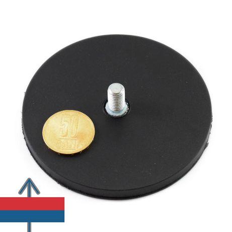Magnet oala cauciucat Neodim D 88mm filet exterior forta 50kg