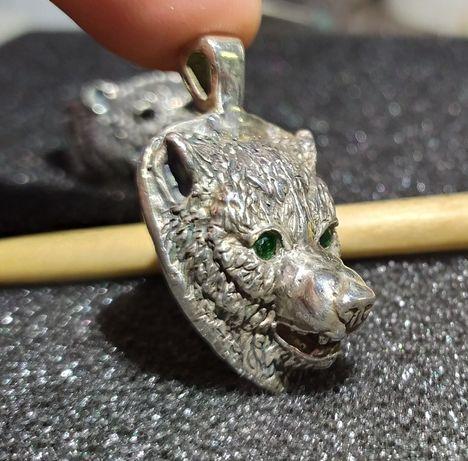 Сребърен медальон Вълк