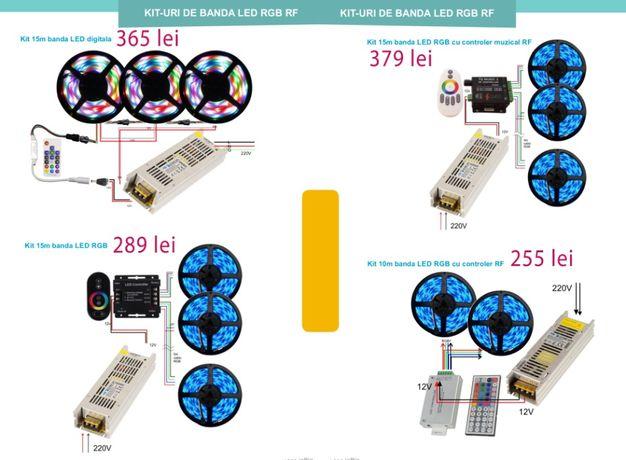 Kit banda LED RGB 15 metri cu telecomanda touch, Benzi LED, scafe LED
