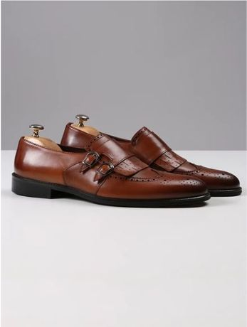 Pantofi piele vitel model Double Monk Strap - marimea 42
