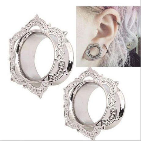 Piercing ureche argintiu / Flesh tunnel / Ear Plug / Cercei 10mm
