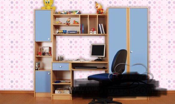 Легло с матрак-нощно шкафче, бюро, двукрилен гардероб, секция