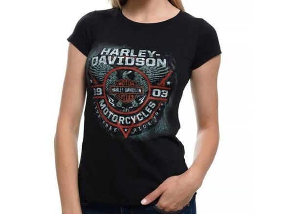 Нова дамска тениска с дигитален печат MOTOR HARLEY DAVIDSON, мотори