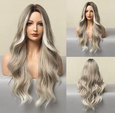 Peruca Z17 Blonda Ombre Satena Gri Silver Suvite Platinata cenusie