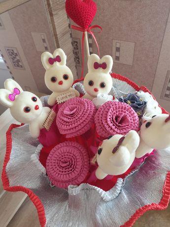 Букет цветов цветы искус бумажные мишки