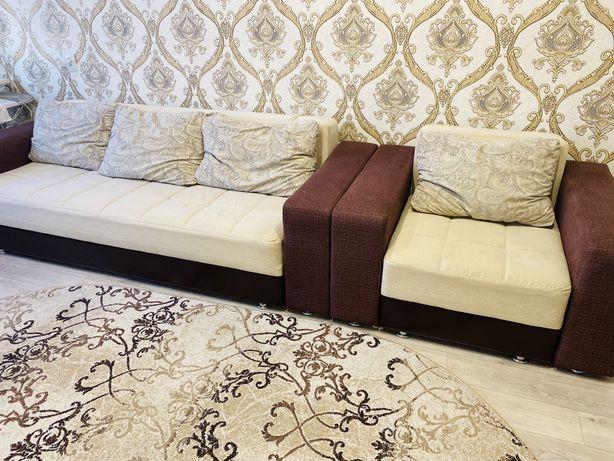 Продам диван + кресло кровать + пуфик