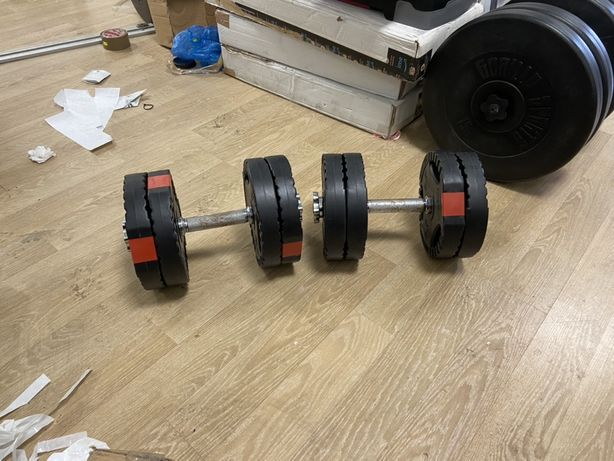Gantere reglabile noi cu discuri cu maner 25 kg, 12,5+12,5=25 kg, noi