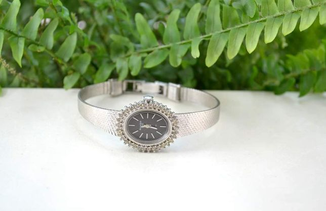 Ceas argint mecanic funcțional Zirconii Designer German Anker Anii 60