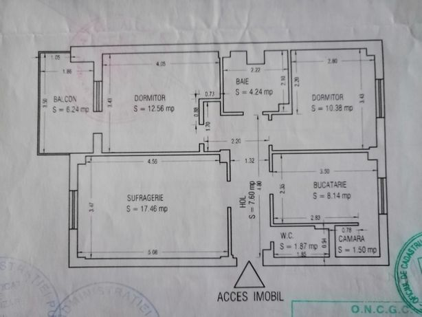 Persoana fizica vând apartament 3 camere