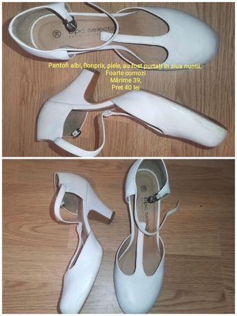 Pantofi albi de piele Bonprix mărime 39