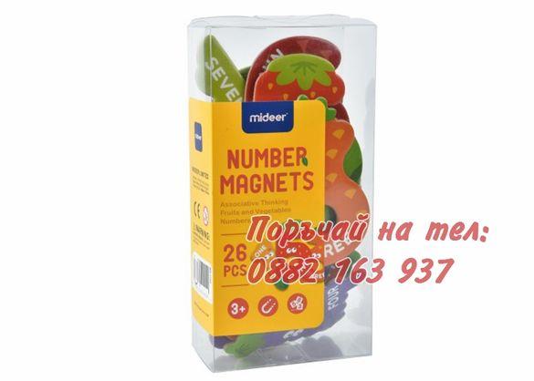 Магнитни Цифри MiDeer, Плодове и Зеленчуци, 26 магнитни части, Размер