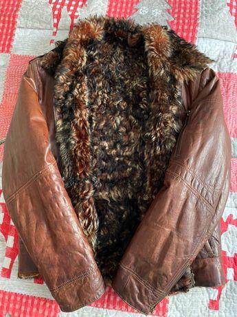 Зимняя куртка из натуральной кожи и меха