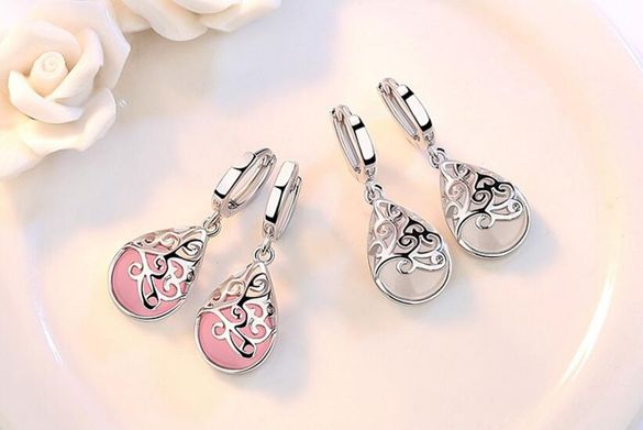 Сребърни обеци, истинско сребро 925, розови камъчета!