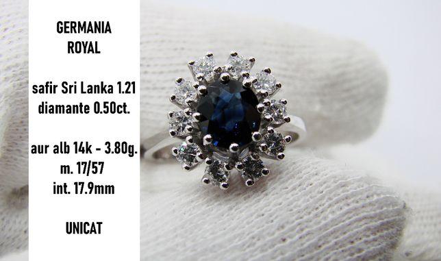 inel aur de logodna Cu Safir Si Diamante Royal 18K diamant