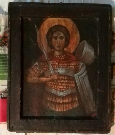 Vând sau schimb icoană veche pictată pe lemn.